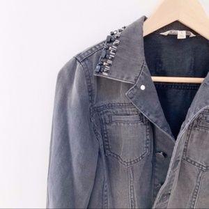CAbi embellished  black jean jacket Small